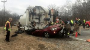 Rollover Truck Crash In Clarksville Traps Driver